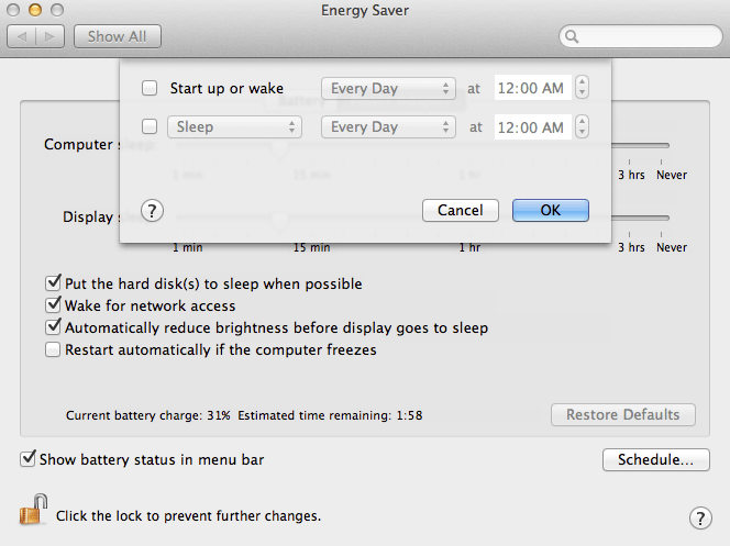 Mac OS X schedule power off and on, or sleep and wake up