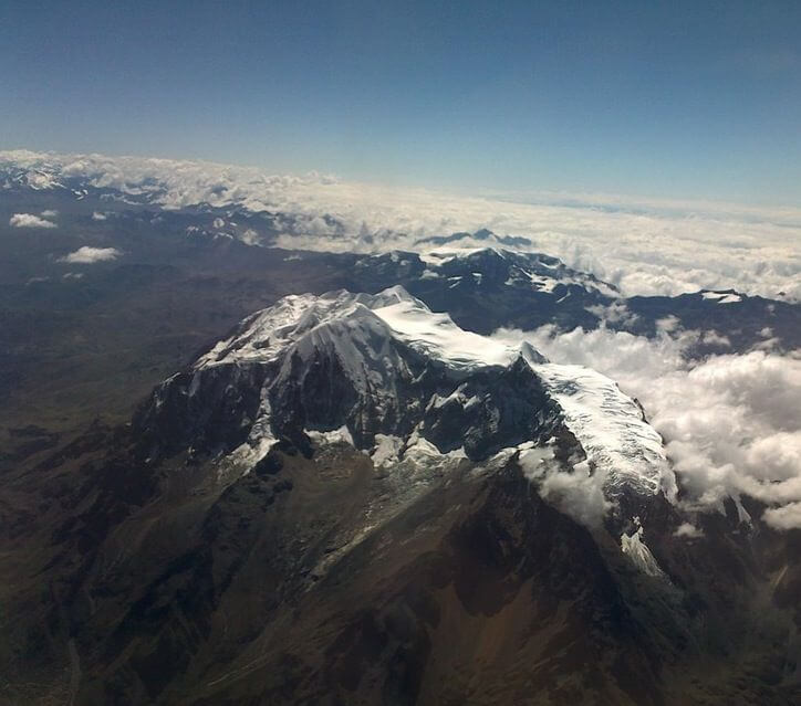 Aerial view of Illimani Mountain