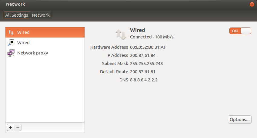 Ubuntu Desktop network settings
