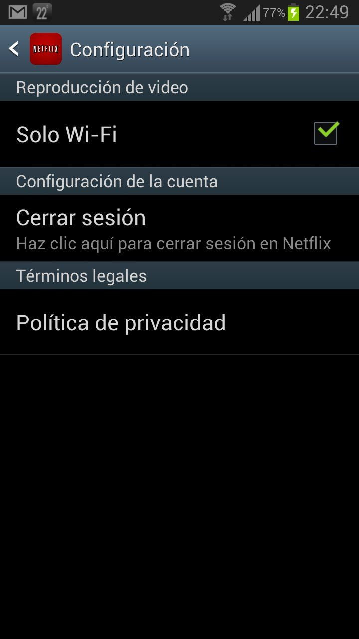Configure Netflix for Android to work only over WiFi networks