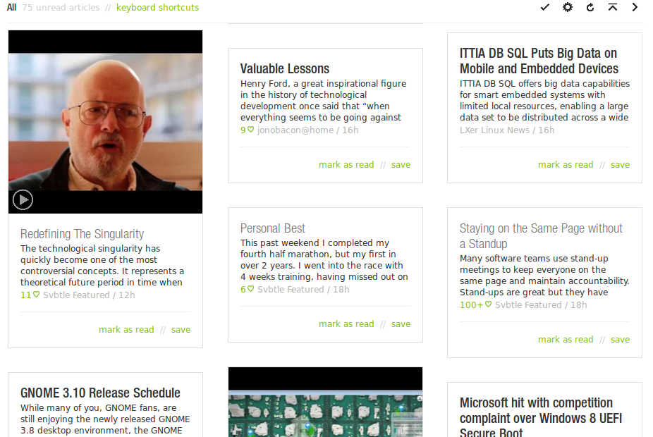 Feedly web screenshot