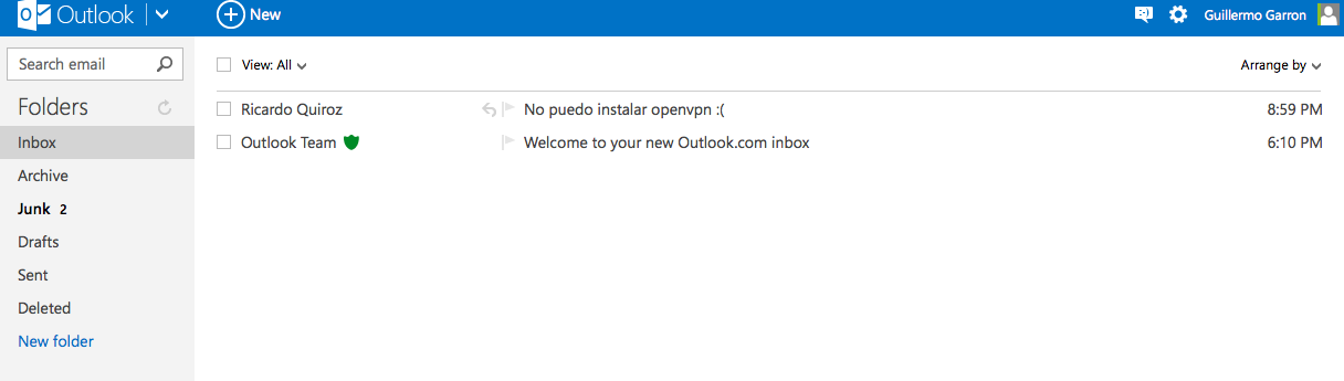 outlook.com clean layout