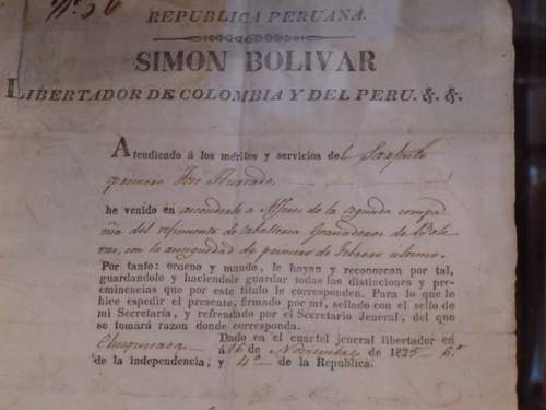 Documento firmado por Simon Bolivar